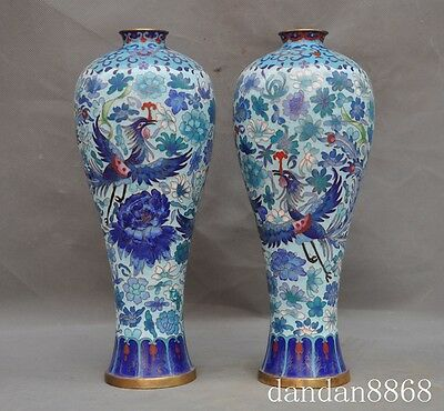 Chinese old Noble bronze Cloisonne gilt god bird Fenghuang Phoenix vase pair