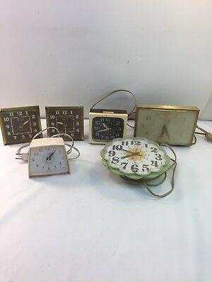 Vintage Lot 6 Clocks Electric And Wind Up Parts Pieces Repair Westclox Sessions