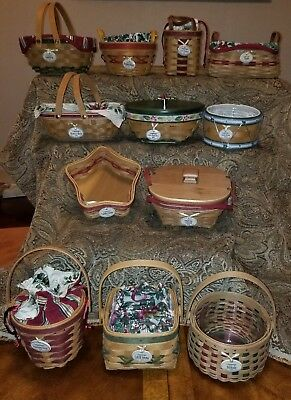 LONGABERGER lot TREE TRIMMING BASKET HOLLY PEPPERMINT TINSEL DRUM with boxes