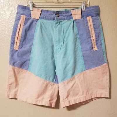 ZEPPELIN Surf Casual Shorts sz 38 Vintage Color Block Pastel 0s pink blue green