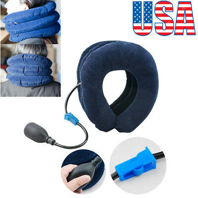 【US】Air Inflatable Pillow Cervical Neck Head Pain Traction Support Brace Device
