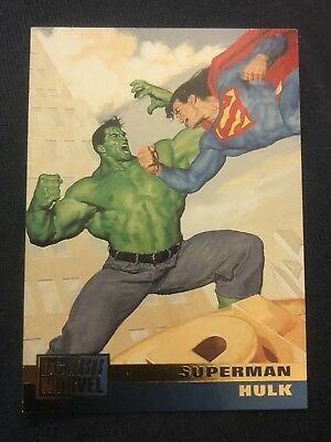 1995 DC Versus Marvel Fleer SkyBox Card #1 Superman Hulk