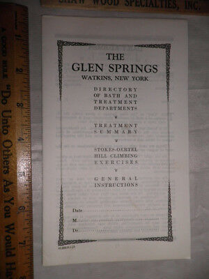 Antique 1922 The Glen Springs Directory of Bath & Treatment Departments