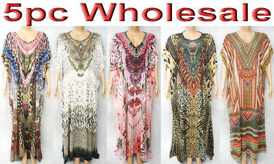 5pc Wholesale Long Women Embellished Beaded Kaftan Boho Dress Free Plus Size Mix