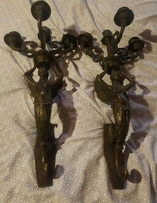 Antique Pair Cast Bronze Heavy Winged Angel Wall Sconces Religious Art French