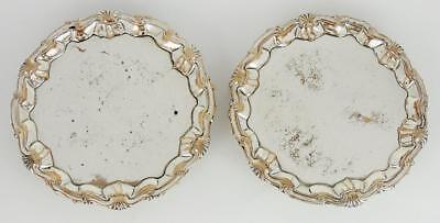 Fine PAIR GEORGE III OLD SHEFFIELD PLATE Small FOOTED WAITER TRAYS c1765