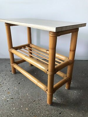 VINTAGE 60s CANE & LAMINATE SIDE HALL TABLE TIKI RETRO Rattan Plant Stand Coffee