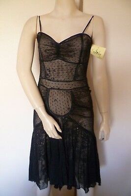 Bebe Evening Party Dress Sheer Black Lined Size 12 Sydney New with Labels