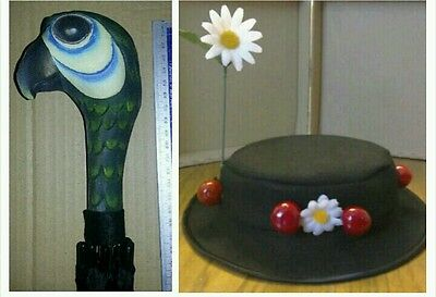 MARY POPPINS inspired Hat & parrot head Umbrella .adults size