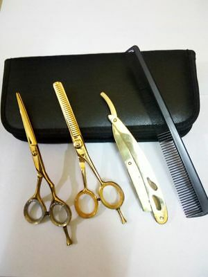 "Professional Barber Hairdressing Scissors Set 6.5"" Gold Colour & Razor Kit"