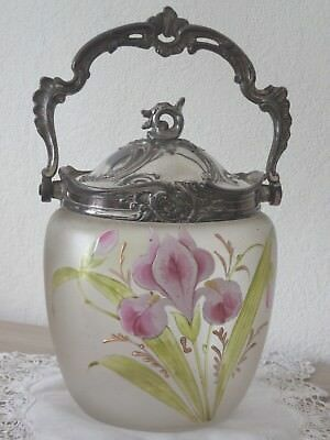 Antique French enamelled Glass & Silvered Pewter Candy Cookie Jar Basket 19th c.