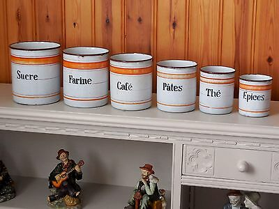 Antique Handmade french Enamelware CANISTER SET early 1900