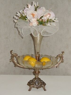 Fabulous Antique 19c French crystal Centerpiece - Coppery Bronze Mounted