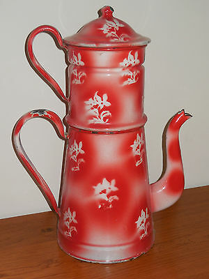 Antique Vintage French Enameled Biggin Coffee Pot - White EDELWEISS stenciled