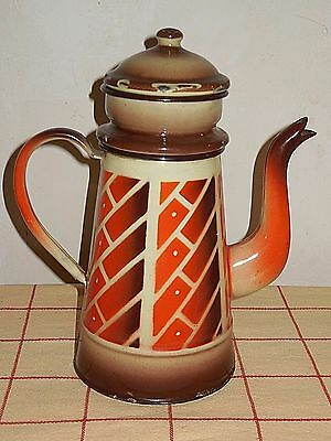 Antique Vintage French Enamelled Biggin Coffee Pot - ART DECO