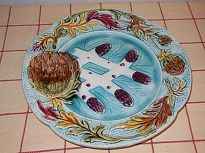 Lot of 3  ANTIQUE MAJOLICA PLATE - ASPARAGUS or ARTICHOKE - ORCHIES FRANCE -
