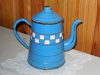 ANTIQUE VINTAGE FRENCH ENAMELLED  COFFEE POT  Authentic BLUE/WHITE LUSTUCRU