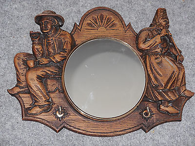 VINTAGE FRENCH CARVED WOODEN BRETON KEY HOLDER with MIRROR - BRASS RIM on ZINC