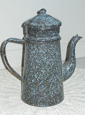 Antique Vintage French Enamelled Biggin Coffee pot -rare Blue & Grey graniteware