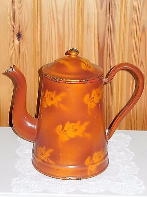 ANTIQUE VINTAGE FRENCH ENAMELED COFFEE POT - Light ocher ROSES