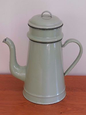 Antique Vintage French Enamelled Metal Biggin Coffee Pot - Pale green