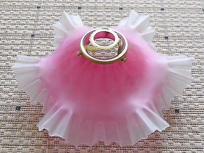 """Antique FRENCH OPALINE GLASS LAMPSHADE 10"""" - PINK & WHITE w. BRASS SOCKET HOLDER"""