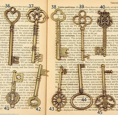 15pc/set Antique Vintage Old Look Alloy Skeleton Keys Fancy Heart Crown Pendant