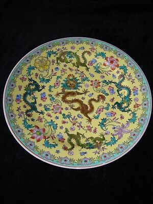 Chinese Famille Rose Yellow Glaze Dragons Dinner Plate