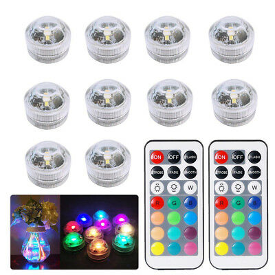 10x RGB LED Underwater Party Swimming Pool Spa Bath Light + 2x Remote Control