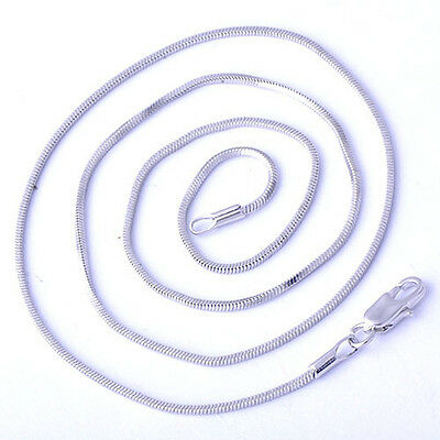 Delicate Womens White Gold Filled Thin 925 Silver Necklace snake chain width 1mm