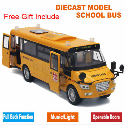 Sound And Light Metal Alloy School Bus Cars Toy Model Open Door With Road Signs