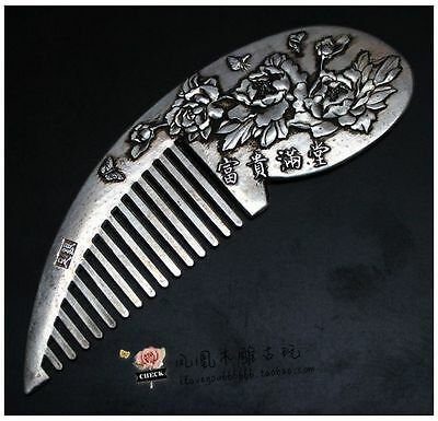 Old Collectibles Handwork Tibet - Silver & White Copper Flower Wonderful Comb