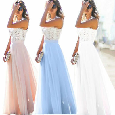 UK Womens Lace Long Formal Wedding Evening Ball Gown Party Bridesmaid Long Dress