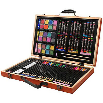 Deluxe Art Set Drawing Painting Portable Case 80 Piece Artists Kit Compact New