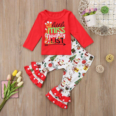 2PCS Toddler Kids Baby Girls Christmas Clothes T-shirt Tops + Pants Outfits Set