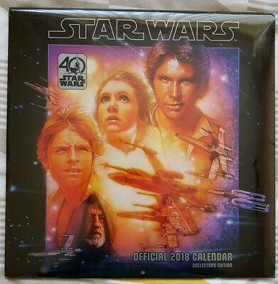 Star Wars - Classic 40th Anniversary Official 2018 Wall Calendar - New & Sealed