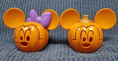 Disney Mickey & Minnie Mouse Mini Light Up Plastic Halloween Pumpkins Set New!