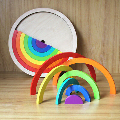Wooden Rainbow Blocks Stacking Building Construction Child Kids Toy Intellectual