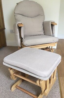 Habebe Nursing Glider Maternity Chair in Beech Wood with cream cushions