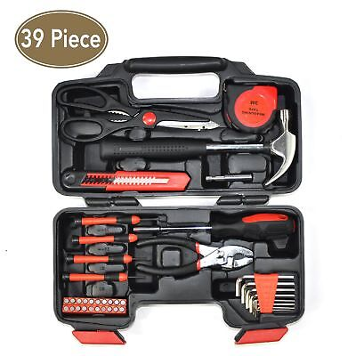 39 Piece home repair hand tool set with tool box storage case 80001M