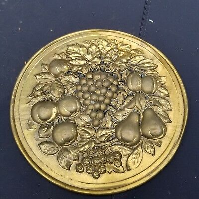 VTG Lombard England Embossed Brass Wall Plate Decor Tavern fruit Bar 11""