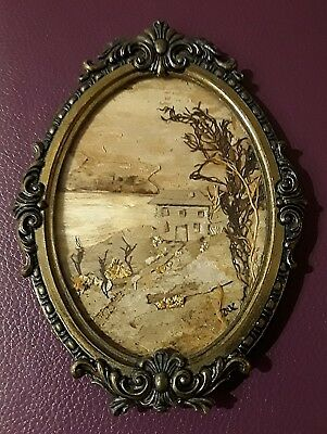 Vintage Italian Oval Brass Frames with Glass & wooden scene Wall Hanging
