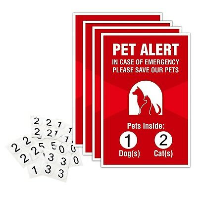 """Pet Alert Sticker - 4 Pack - 4x6 inches - """"Pets Inside"""" Safety Window Decals"""
