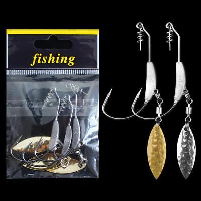 3PCS Fishing Crank Hook with Lead Metal Spoon Sequins Soft Bait Soft Worm Hooks