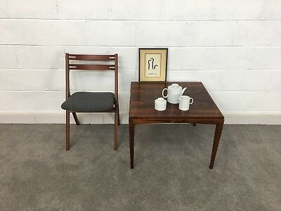 Danish Rosewood Square Coffee Table - Mid Century Modern / Vintage / Side / Lamp