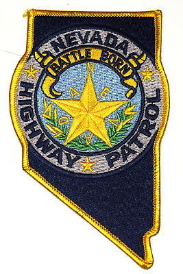 NEVADA HIGHWAY PATROL NV Police Sheriff Patch – STATE SHAPE – BATTLE BORN STAR ~
