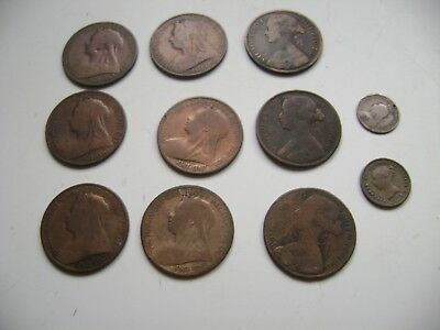 Job Lot British Coins Queen Victoria Half Farthing Three Pence One Penny's