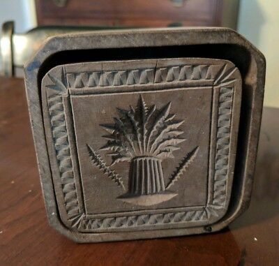 Antique American Butter Mold Wheat Chip Carved Unusual Case Form 19th Century