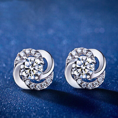 925 Silvering  Sapphire Lucky Leaf Clover Ear Studs Earrings Jewelry accessory