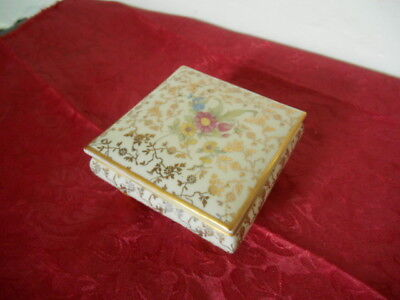 Lovely Vintage Bavarian Porcelain Footed Vanity Jewelry Powder Box ca. 1950